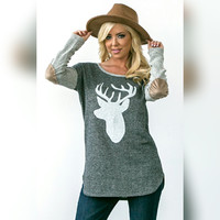 H. Gray Deer Top w/ Elbow Patch (Preorder)