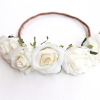 ivory white rose crown - wedding bridal headpiece, flower hair wreath, floral headband, bridesmaid, flower girl, festival, beach wedding.