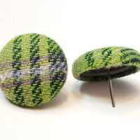 Seattle Themed Fabric Covered Button Earrings Womens Plaid Fashion Accessories Girls Plaid Fabric Jewelry Seattle Post Earrings Studs