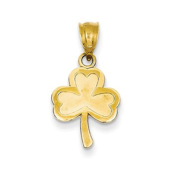 14k Yellow Gold Three Leaf Clover Pendant, 12mm (7/16 inch)