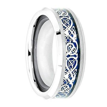 Mens Carbide Tungsten Wedding Ring Shiny Beveled Edge with Blue Celtic Dragon Cut out Inlay - 8mm