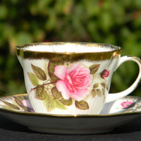 Queens Schmid Teacup and Saucer - Vintage Pink Rose English Tea Cup J-1523