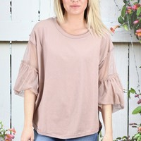 Mesh Ruffle Sleeved U-Hem Top {Dusty Rose}