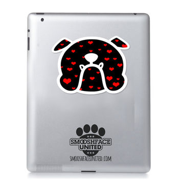 English bulldog decal -  Bully with hearts -  Bulldog face sticker - dog car stickers - Smooshface United flat face breed bias #bullylove