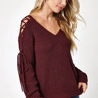 LA Hearts Lace-Up Cold Shoulder Sweater at PacSun.com