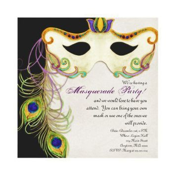 Peacock Masquerade Mask Ball - Party Invitation from Zazzle.com