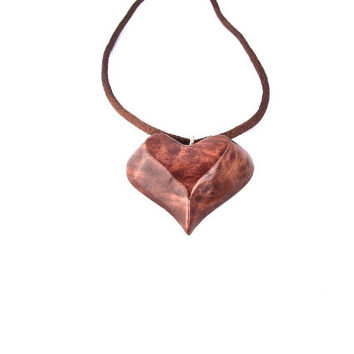 Wooden Pendant, Wooden Heart Necklace Pendant, Hand Carved Wooden Heart, Heart Carved Pendant, Hand Carved Heart Necklace, Valentine's Day