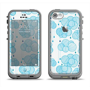 The White and Blue Raining Yarn Clouds Apple iPhone 5c LifeProof Fre Case Skin Set