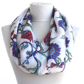 Infinity scarf spring scarf floral scarf with traditional  Turkish - Ottoman Iznik ceramic tile motifs with tulip hyacinth flower print