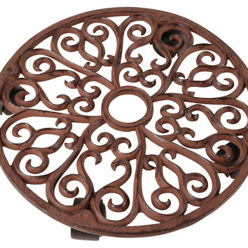 """14"""" Round Cast-Iron Plant Trolley, Brown, Outdoor Urns, Planters & Jardinieres"""