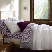 Ruched Quilt + Sham, White