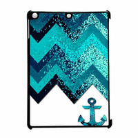 Chevron Navy Anchor Sparkly iPad Air Case