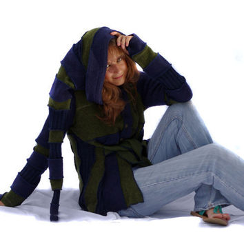 Elf Coat, Upcycled, Recycled, Sweater, Hoodie, Blue and Green