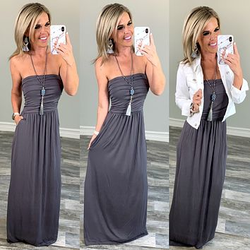Your so Classic Pocket Maxi Dress: Grey