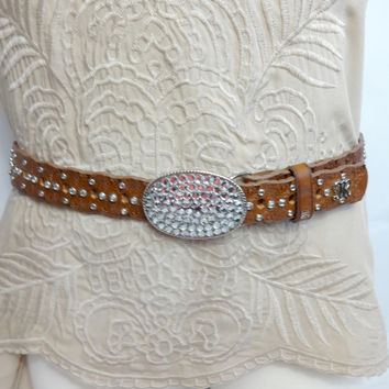 Miss Me Western Brown Leather Rhinestone Belt