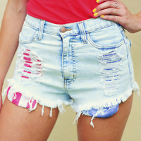Fourth Of July Shorts: Light Wash | Hope's