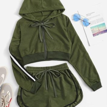 Contrast Taped Side Hooded Top With Shorts