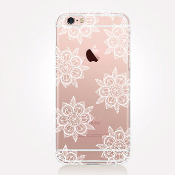 Transparent Floral iPhone Case - Transparent Case - Clear Case - Transparent iPhone 6 - Transparent iPhone 5 - Samsung S7 - Rubber Case