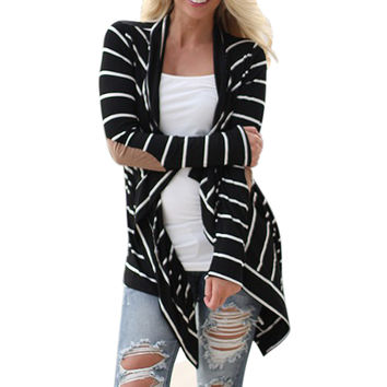 Feitong Black and White Stripe Elbow Patching PU Leather Long Sleeve Knitted Cardigan Fall Slim 2017 Spring Autumn Women Sweater