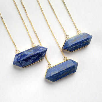 Lapis Lazuli Necklace Horizontal Crystal Point Lapis Lazuli Pendant Blue Stone Necklace Stone Jewelry  Lapis Lazuli Jewelry Mineral Necklace