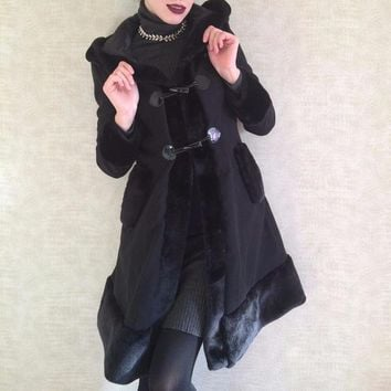 Gothic Coat Flocking Hooded Vintage Slim Trench Coat