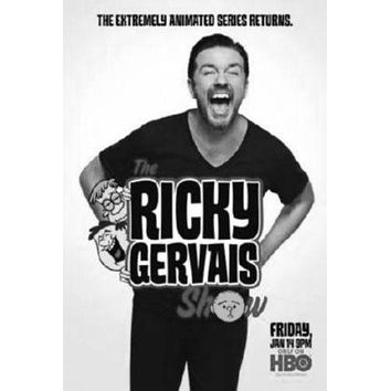 Ricky Gervais Show poster Metal Sign Wall Art 8in x 12in Black and White