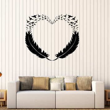 Vinyl Wall Decal Feathers Heart Decor Love Birds Romantic Stickers Unique Gift (299ig)