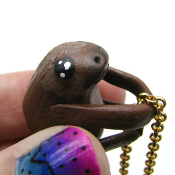 Polymer Sloth Necklace - Hanging Sloth Necklace - Sloth Jewelry - Gold Chain Necklace - Gifts Under 20 - Sloth Lover - Animal Lover