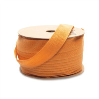 Cotton Linen Blend Fabric Ribbon, 5/8-inch, 25-yard, Orange