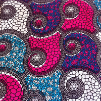 Dutch African Wax Print Fabric by the HALF YARD. Hot Pink, Purple, Turquoise, Black and White--Filigree and Pebbles