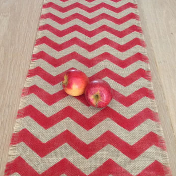 Chevron Burlap Table Runner 12x48 Cardinal Red Natural Jute Tablerunner Ripple/Zig ZagTable Decoration