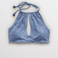 Aerie Eyelet High Neck Bikini Top , Somber Navy