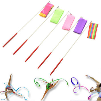 New Dance Ribbon Gym Sports Event Rhythmic Gymnastics Ribbon Rod Art Ballet Twirling Stick Dancing Show Streamer Ribbon
