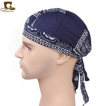 Cool  Unisex cotton Skull Caps Paisley Bandanna Biker cycling Hat durag do rag  hair band Bandannas