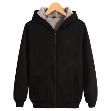 Men's Hooded Casual Brand Hoodies Clothing Wool Liner Mens Winter Thickened Warm Coat Male M-4XL Sweatshirts Outwear