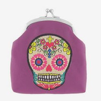 Sugar Skull Embroidered Change Purse