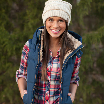 Navy Hooded Puffer Vest