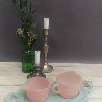 Pink Milk Glass/ Pink Milk Glass Creamer and Sugar/ Sugar and Creamer set/ Pink Glass/ Milkglass/ Milk Glass Sugar and creamer/ Fireking