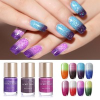 NICOLE DIARY 9ml Thermal Nail Polish Glitter Temperature Color Changing Water-based Manicure Varnish Shinny Shimmer Nail Lacquer
