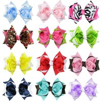 """HipGirl Boutique Girls 10pc Set Large 4.5"""" Spike Hair Bow Clips on 90mm French Barrettes"""