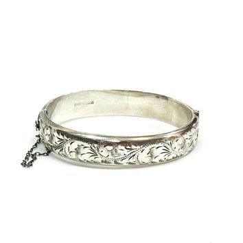 Engraved Sterling Bracelet, Victorian Revival Hinged Bangle, Foliate Motif, Birmingham Marks, 1960s, English Vintage Jewelry