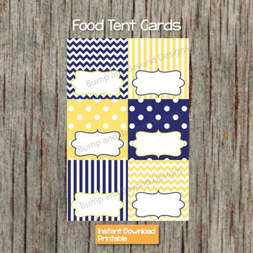 Baby Shower Food Tent Cards Yellow Blue INSTANT DOWNLOAD PDF Digital Printable Party Supplies Boy Shower Birthday Party Name Labels diy 02