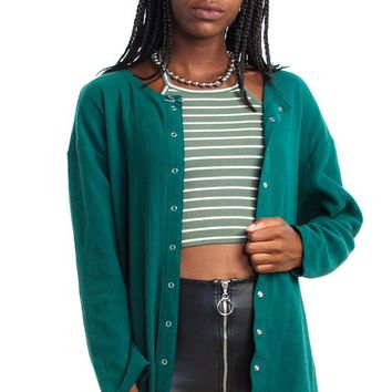 Vintage 90's Can't See the Forest Rib Knit Cardigan - One Size Fits Many