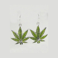 Marijuana Leaf with Epoxy Earring Set