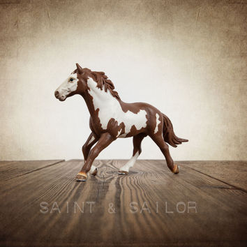 Vintage Cowboy Themed Print Brown and White Horse