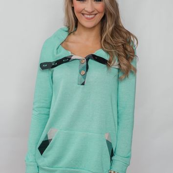 Touch of Plaid Pullover & Button Top - Mint
