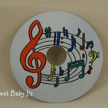 Vintage Vinyl 45 Record Hand Painted Music Note Theme