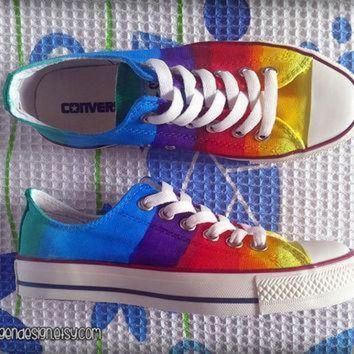 ICIKGQ8 rainbow custom converse colorful painted shoes low tops
