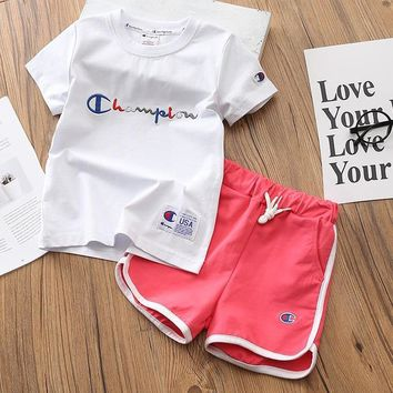Champion Girls Boys Children Baby Toddler Kids Child Fashion Casual Shirt Top Tee Shorts Set Two-Piece