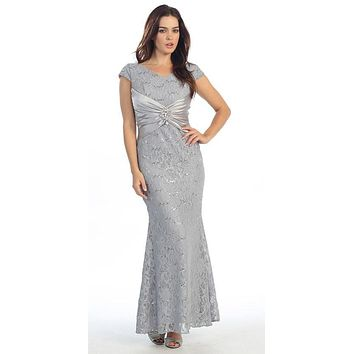 Short Sleeved V Neckline Long Silver Lace Column Gown